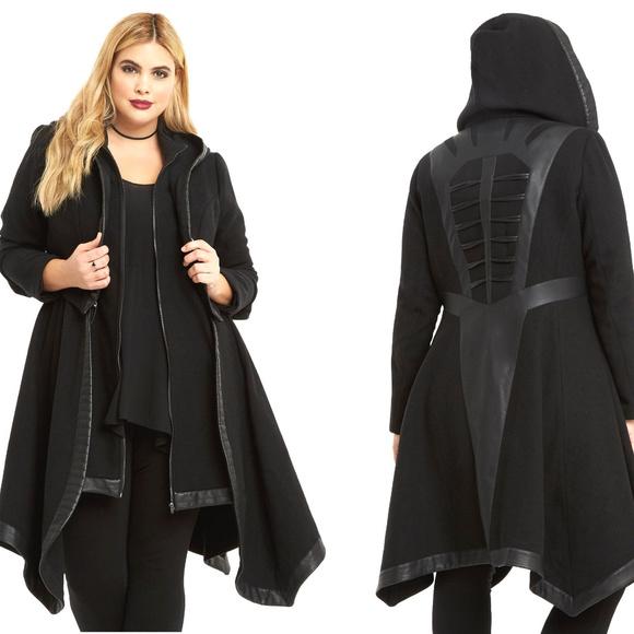 f0bfb10e17594 1X Disney Villains Goth Torrid Black Hooded Coat NWT